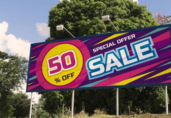 Clickprinting. Impresión de vallas publicitarias en papel blueback de 8 x 3 metros para campañas de exterior. Comprar a precios baratos online
