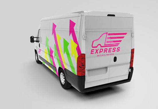 Clickprinting. Rotulación de furgonetas con vinilos adhesivos de corte en colores fluorescentes Oracal.  Comprar online precios baratos
