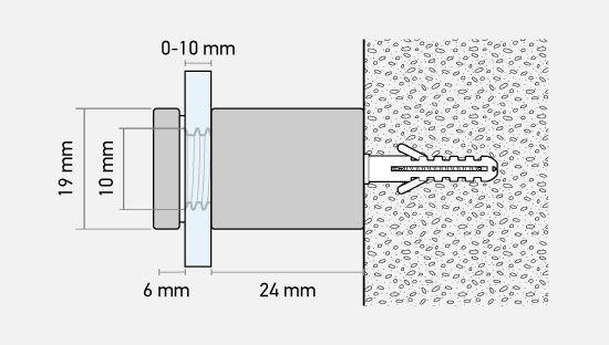 Clickprinting. Embellecedores de separación y sujeción de placas de metacrilato, dibond. Comprar online a precios baratos