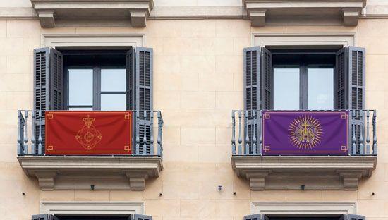 Colgaduras personalizadas semana santa para balcones en tela lavable con impresión fotográfica y 4 lazos para atar