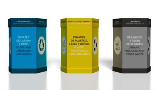 Clickprinting. Expositores publicitarios papeleras de cartón para reciclar envases plásticos, papel y orgánicos. Comprar a precios baratos online