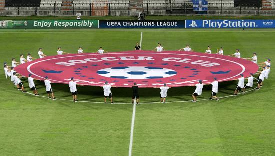 Pancarta textil para el círculo central del campo de fútbol, patrocinio y publicidad en los estadios deportivos