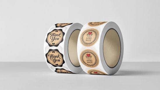 Clickprinting fábrica de etiquetas y pegatinas en bobina al mejor precio online. Papel verjurado marrón Kraft
