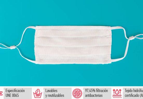 Pack de mascarillas blancas con tejido hidrocell certificado y fabricadas en España