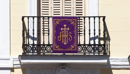 Colgaduras religiosas para balcones en tela lavable y calidad fotográfica, con 4 lazos para atar