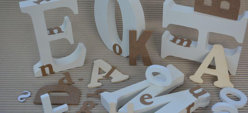Las letras de porexpan para bodas y decoración
