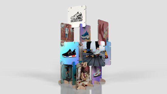 Photocall modular de cartón con piezas encajables