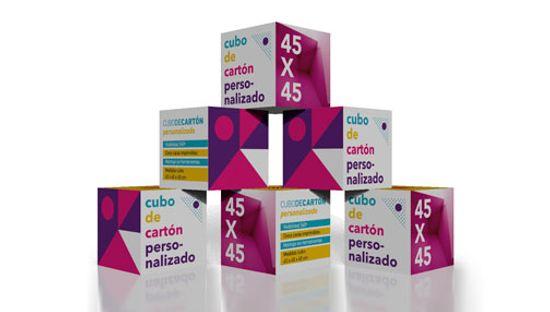 Clickprinting. Expositores PLV. Cubos individuales de cartón automontables con forma cuadrada. Comprar a precios baratos online