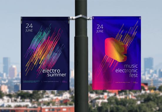Clickprinting. Impresión banderolas publicitarias en soportes para farolas con lonas opacas a doble cara. Comprar banderolas precios baratos online