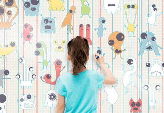 Clickprinting. Impresión digital de vinilos adhesivos para decorar paredes pintura lisa plástica. Precios baratos online